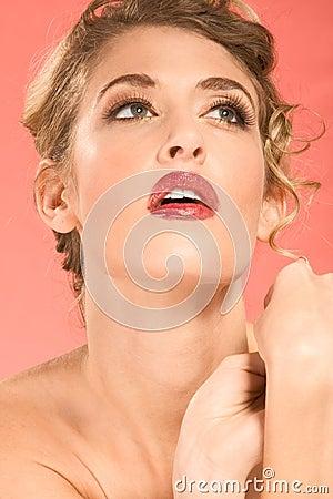Portrait of blonde wearing dramatic make up