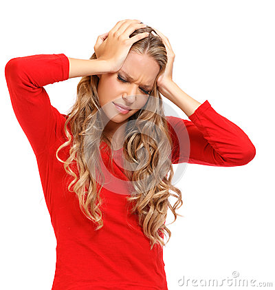 Portrait of a blonde woman with severe headache