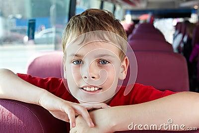 Portrait of boy in bus
