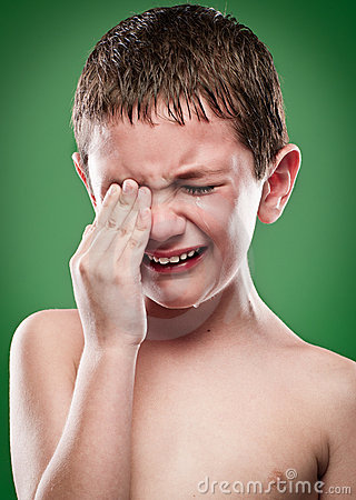 Portrait of boy crying