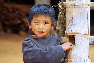 Portrait of a boy from the Lat Sen village,Laos Editorial Stock Photo