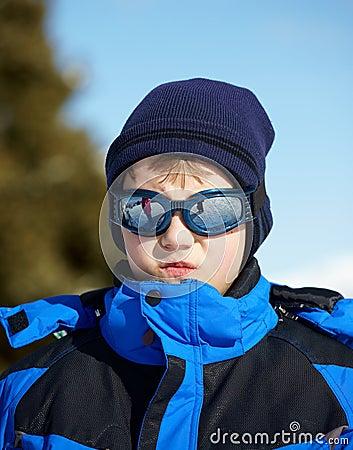 Portrait of a Boy in ski glasses