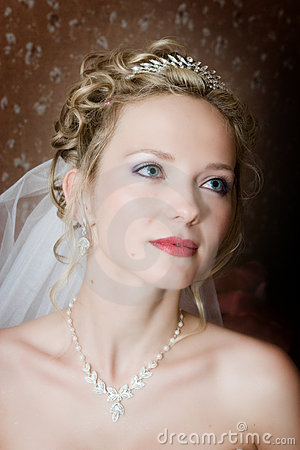 Portrait of the bride on a dark bacground
