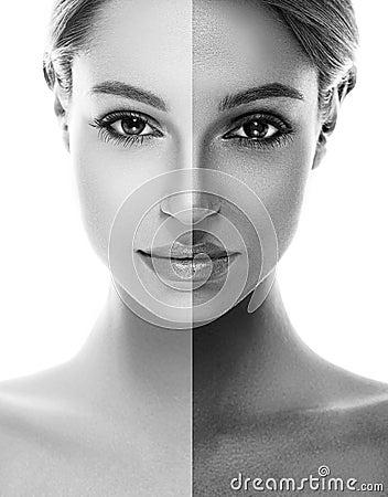 portrait bronzage de demi visage bronzage de femme beau noir et blanc photo stock image 62543043. Black Bedroom Furniture Sets. Home Design Ideas