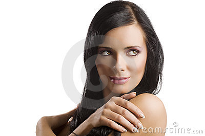 Portrait brunette with long hair