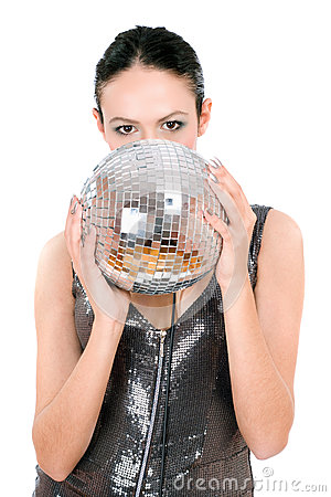 Portrait of brunette with a mirror ball
