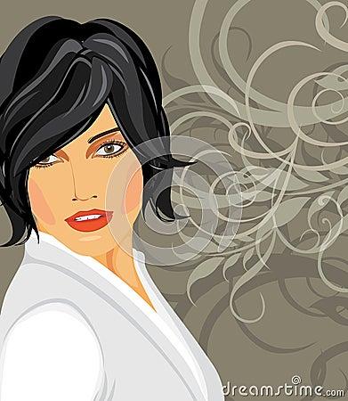 Portrait of brunette in a white blouse