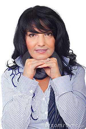 Portrait brunette woman hairstyle