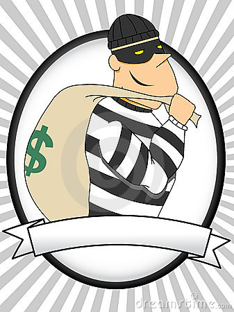 Portrait of Burglar holding bag of money