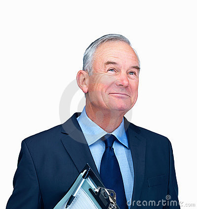 Portrait of a business man holding writing pad
