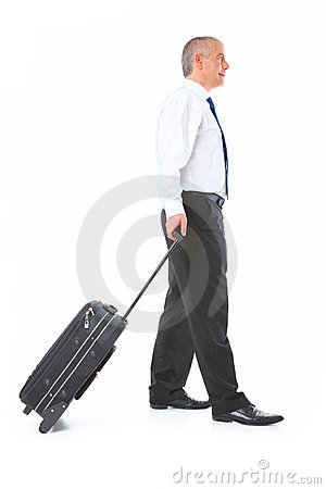 Portrait of business man with luggage