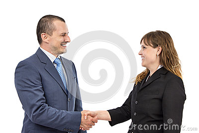 Portrait of business people shaking hands