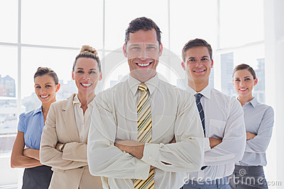 Portrait of business team standing together