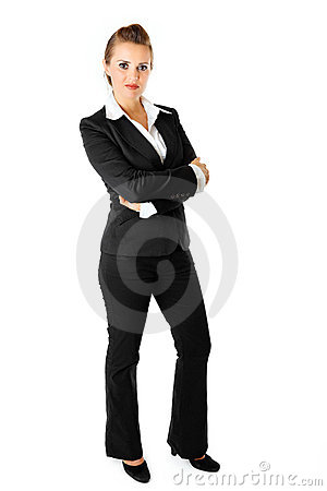 Portrait business woman with crossed arms on chest