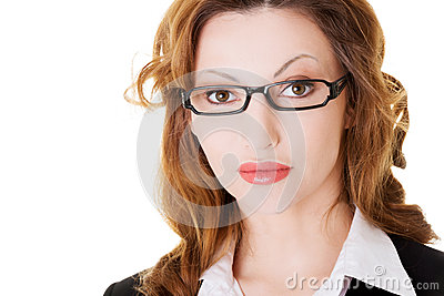 Portrait of business woman in eyeglasses.