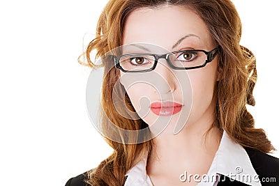 Portrait of business woman in eyeglasses.