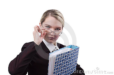 Portrait of the business woman with a folder