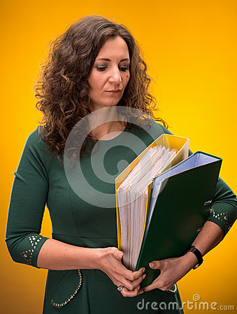 Portrait of  business woman with  folders