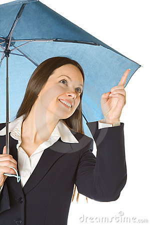 Portrait of a business woman holding a umbrella