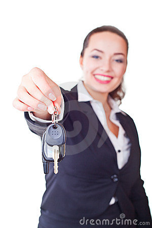 Portrait of business woman with the keys