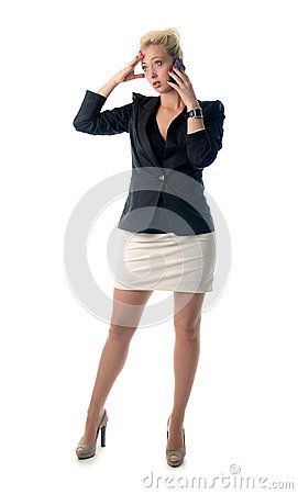 Portrait of business woman speaking on mo