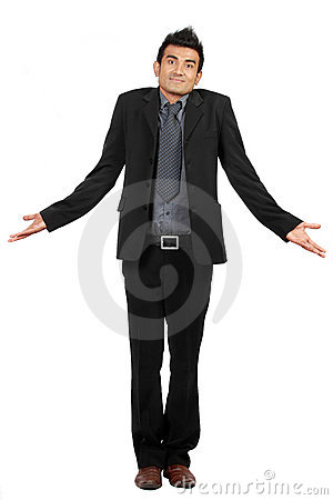 Portrait of businessman gesturing do not know sign
