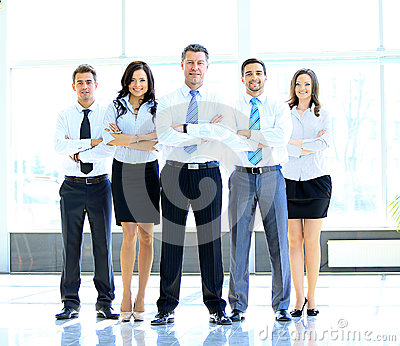 Portrait of businessman leading his team