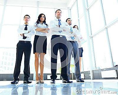Portrait of businessman leading his team