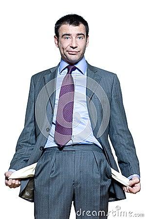 Portrait of businessman showing his empty pockets