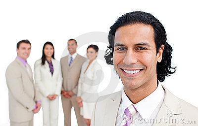 Portrait of a businessman smiling with his team