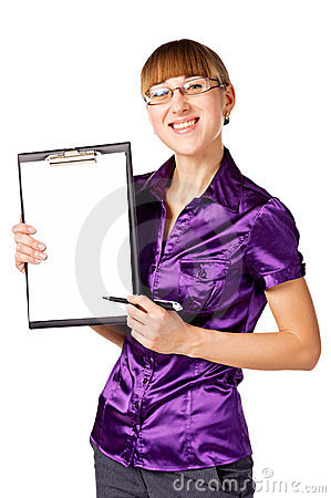Portrait of a businesswoman with blank binder