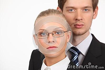 Portrait of businesswoman and businessman