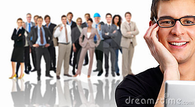 Portrait of a businesswoman in front of a crowd of