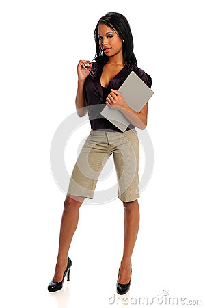 Portrait of Businesswoman Holding Binder