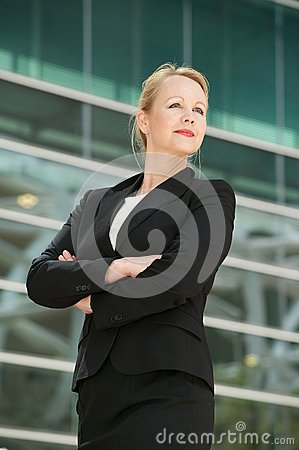 Portrait of a businesswoman posing outside office