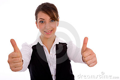 Portrait of businesswoman with thumbs up