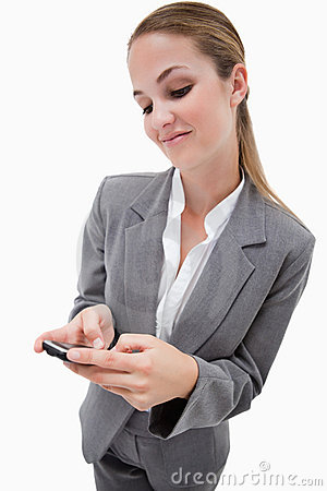 Portrait of a businesswoman using a smartphone