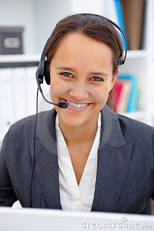 Portrait of a bussinesswoman using a headset