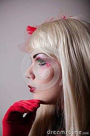 Portrait of cabaret girl with glitter makeup