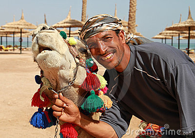 Portrait of camel and beduin
