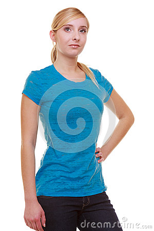 Portrait casual blond smiling girl female student isolated. Education college.