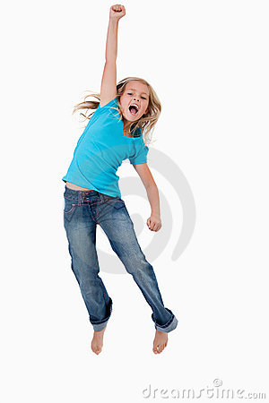 Portrait of a cheerful girl jumping