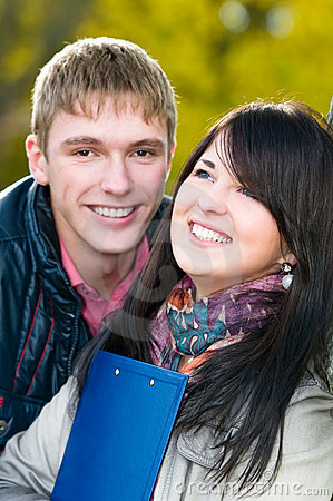 Portrait of cheerful students