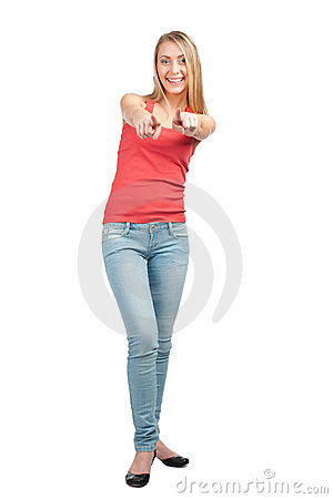 Portrait of cheerful young woman pointing