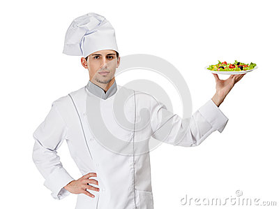Portrait of chef cook with salad on the plate