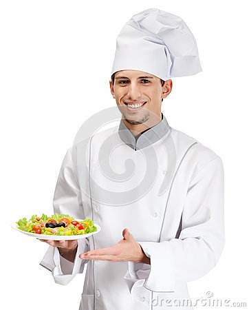 Portrait of chef cook showing salad dish