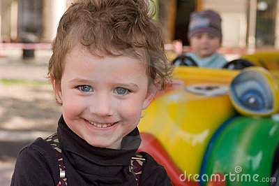 Portrait of a child in attraction park