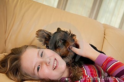 Portrait of child with dog