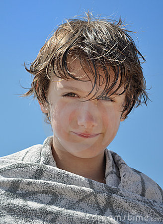 Portrait of a child after a swim