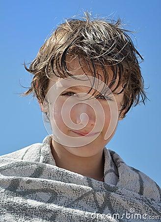 Portrait of a child after a swim